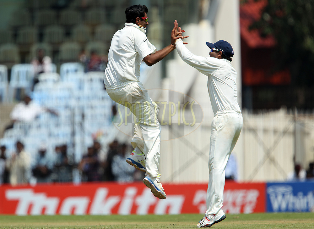 Ravichandran Ashwin of India celebrates the wicket of Shane Watson of Australia during day 1 of the 1st Airtel Test match between India and Austraia at the M. A. Chidambaram Stadium in Chennai on the 22nd February 2013..Photo by Ron Gaunt/BCCI//SPORTZPICS..Use of this image is subject to the terms and conditions as outlined by the BCCI. These terms can be found by following this link:..http://www.sportzpics.co.za/image/I0000SoRagM2cIEc