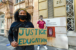 © Licensed to London News Pictures. 20/08/2020. LONDON, UK.  Larissa Kennedy (L), President NUS, joins students at a protest outside the Department for Education in Westminster calling for a full review into grade inequality following this year's exam results chaos.  After a campaign for A-Level and GCSE students to have grades based on teacher assessments rather than based on a computer algorithm, BTec students will have to wait while exam board Pearson regrades their results.  Photo credit: Stephen Chung/LNP