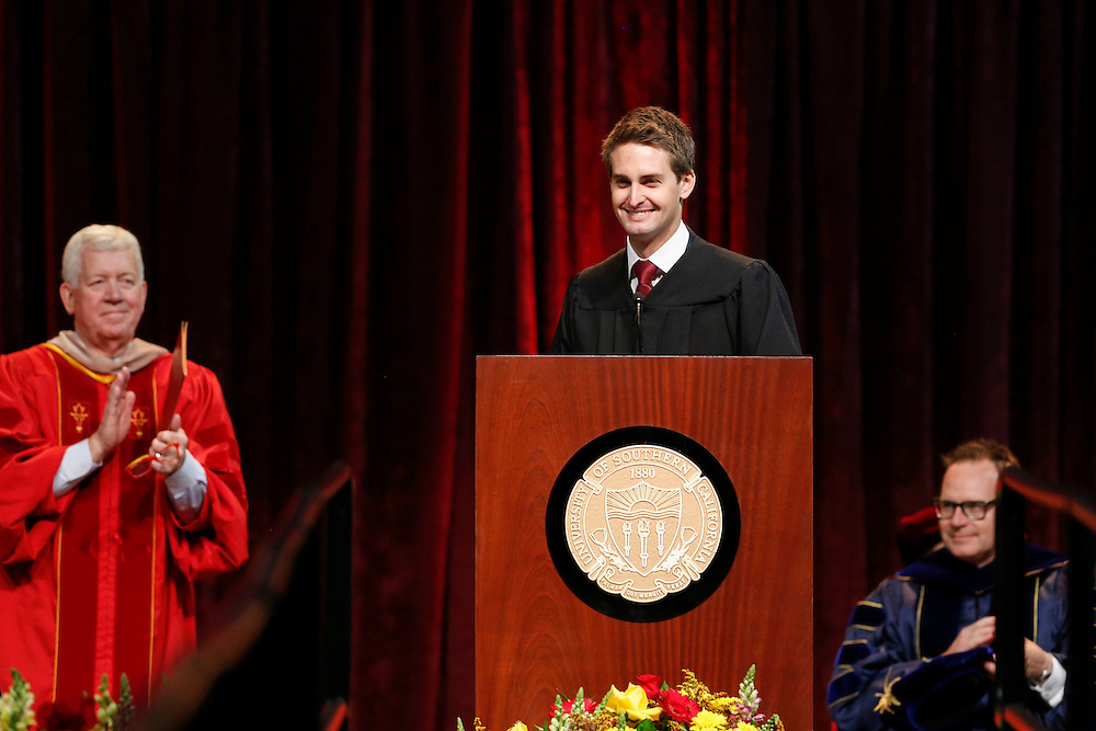 Snapchat co-founder and CEO Evan Spiegel smiles after speaking during his commencement address to the USC Marshall School of Business at the Galen Center on Friday, May 15, 2015 at the University of Southern California (USC) in Los Angeles, Calif. © 2015 Patrick T. Fallon