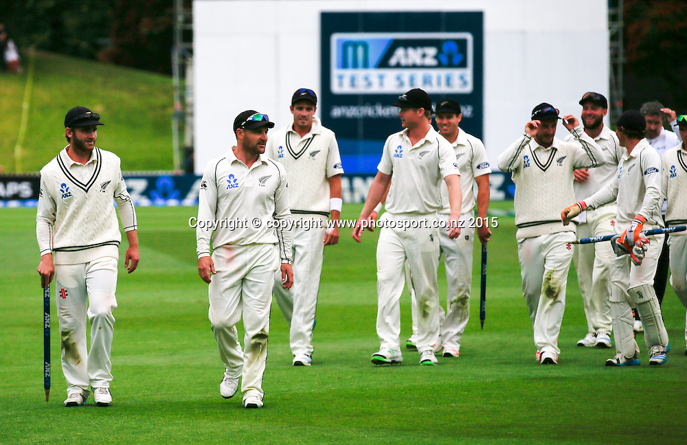 Kane Williamson and Brendon McCullum lead the team off the field at the end of play. Fifth day, second test, ANZ Cricket Test series, New Zealand Black Caps v Sri Lanka, 07 January 2015, Basin Reserve, Wellington, New Zealand. Photo: John Cowpland / www.photosport.co.nz