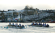 Putney, London.  Pre Varsity Boat race fixture. The crews move past Chiswick Pier, Cambridge UBC.[Blue Boat] vs GBR U23 crew raced over parts of the Championship Course, [Putney to Mortlake].  Race divided into two trials. 1. Start to Hammersmith Pier. 2. Chiswick Eyot to Finish. River Thames. Saturday   26/02/2011 [Mandatory Credit -Karon Phillips/Intersport Images]..Crews:.CAMBRIDGE [Blue Boat] Bow,  Mike THORP, Joel JENNINGS,  Dan RIX-STANDING,  Hardy CUBASCH,  George NASH,  Geoff ROTH , Derek RASMUSSEN, Stroke David NELSON and Cox Tom FIELDMAN..GB Under-23s Bow, Oliver STAITE, Jack CADMAN,  Alex TORBICA, Alex DAVIDSON, Matt TARRANT, Ertan HAZINE,  Mason DURANT,  Stroke Scott DURANT and Cox Max GANDER .