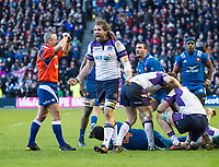 EDINBURGH, SCOTLAND - FEBRUARY 11: Scotland's Ben Toolis celebrates as his side beat France 32-26 during the NatWest Six Nations match between Scotland and France at Murrayfield on February 11, 2018 in Edinburgh, Scotland. (Photo by MB Media/Getty Images)