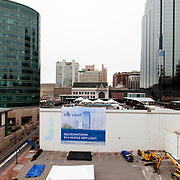 Prior to start of construction (April 14, 2014) on the One Light Tower at 13th & Walnut Streets,  downtown Kansas City, Missouri. The first planned new-built residential component to the Cordish Company's Power and Light District. Humphreys and Partners Architects, Kushner Companies, co-developer. JE Dunn Construction, general contractor.