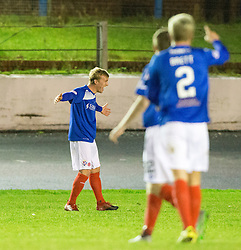 Cowdenbeath's Fraser Mullen cele scoring their second goal. Cowdenbeath 3 v 4 Forfar Athletic, Scottish Football League Division Two game played 17/12/2016 at Central Park.