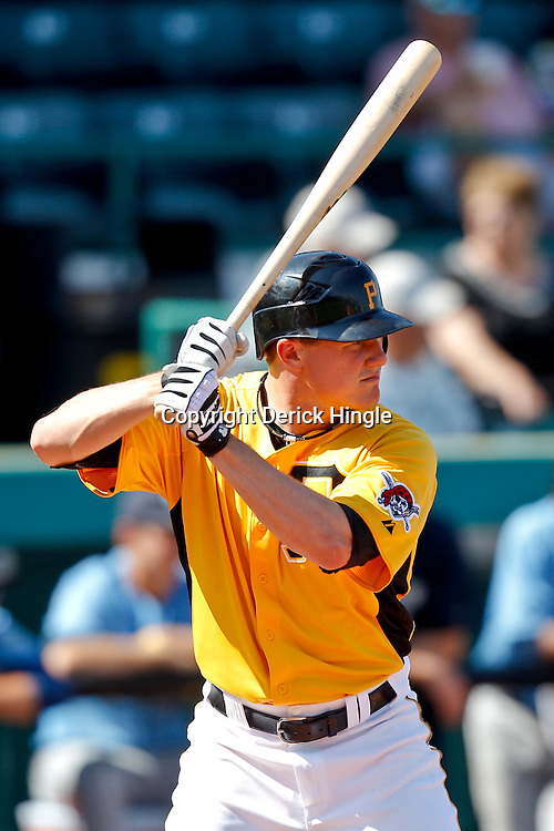 February 25, 2011; Bradenton, FL, USA; Pittsburgh Pirates infielder Brian Friday (77) during a spring training exhibition game against the State College of Florida Manatees at McKechnie Field. The Pirates defeated the Manatees 21-1. Mandatory Credit: Derick E. Hingle