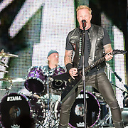 BALTIMORE, MD - May 10th, 2017 - Lars Ulrich and James Hetfield of Metallica perform at M&T Bank Stadium in Baltimore, MD on the opening night of their Worldwired Tour 2017. The band released their tenth studio album, Hardwired... to Self-Destruct, in November 2016. (Photo by Kyle Gustafson / For The Washington Post)