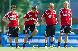 16.07.2014, Alois Latini Stadion, Zell am See, AUT, Bayer 04 Leverkusen Trainingslager, im Bild v.l.: Robbie Kruse (Bayer 04 Leverkusen), Sebastian Boenisch (Bayer 04 Leverkusen), Tin Jedvaj (Bayer 04 Leverkusen), Simon Rolfes (Bayer 04 Leverkusen) // f.l.: Robbie Kruse (Bayer 04 Leverkusen), Sebastian Boenisch (Bayer 04 Leverkusen), Tin Jedvaj (Bayer 04 Leverkusen), Simon Rolfes (Bayer 04 Leverkusen) during a Trainingssession of the German Bundesliga Club Bayer 04 Leverkusen at the Alois Latini Stadium, Zell am See, Austria on 2014/07/16. EXPA Pictures © 2014, PhotoCredit: EXPA/ JFK