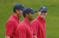 Golf<br /> Foto: imago/Digitalsport<br /> NORWAY ONLY<br /> <br /> 2 October 2013: Steve Stricker along with Tiger Woods and Matt Kuchar on the 11th hole during a practice round for The Presidents Cup golf tournament at Muirfield Village GC in Dublin, OH on October 2, 2013.