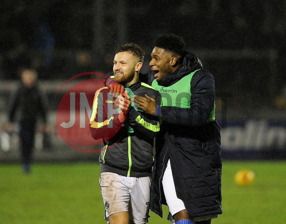 Matt Taylor and Ellis Harrison of Bristol Rovers celebrate the win over Bury - Mandatory by-line: Neil Brookman/JMP - 10/12/2016 - FOOTBALL - Memorial Stadium - Bristol, England - Bristol Rovers v Bury - Sky Bet League One