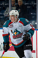 KELOWNA, CANADA - MARCH 13:  Cayde Augustine #5 of the Kelowna Rockets warms up against the Spokane Chiefs on March 13, 2019 at Prospera Place in Kelowna, British Columbia, Canada.  (Photo by Marissa Baecker/Shoot the Breeze)