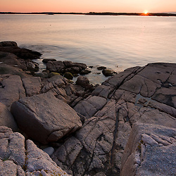 Sunrise on the coast of Maine's Great Wass Island near Jonesport. Nature Conservancy preserve.