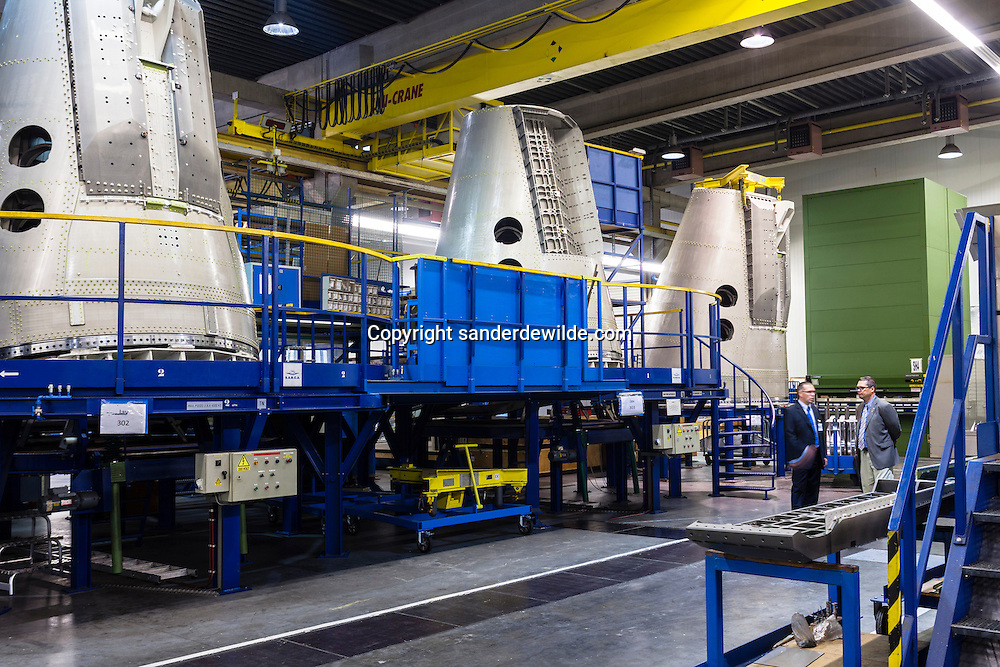 S.A.B.C.A. factory in Brussels works for  the IXV project (European Space Agency, esa). Interior of the factory with some Ariane parts.