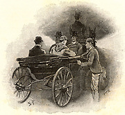 Holmes questioning a stable lad, and finding that a number of sheep in the paddock had gone lame, a piece of information that leads him to the murderer of Straker the trainer.  From 'The Adventures of Sherlock Holmes' by Conan Doyle from 'The Strand Magazine' (London, 1892). Illustration by Sidney E Paget, the first artist to draw Sherlock Holmes.  Engraving.