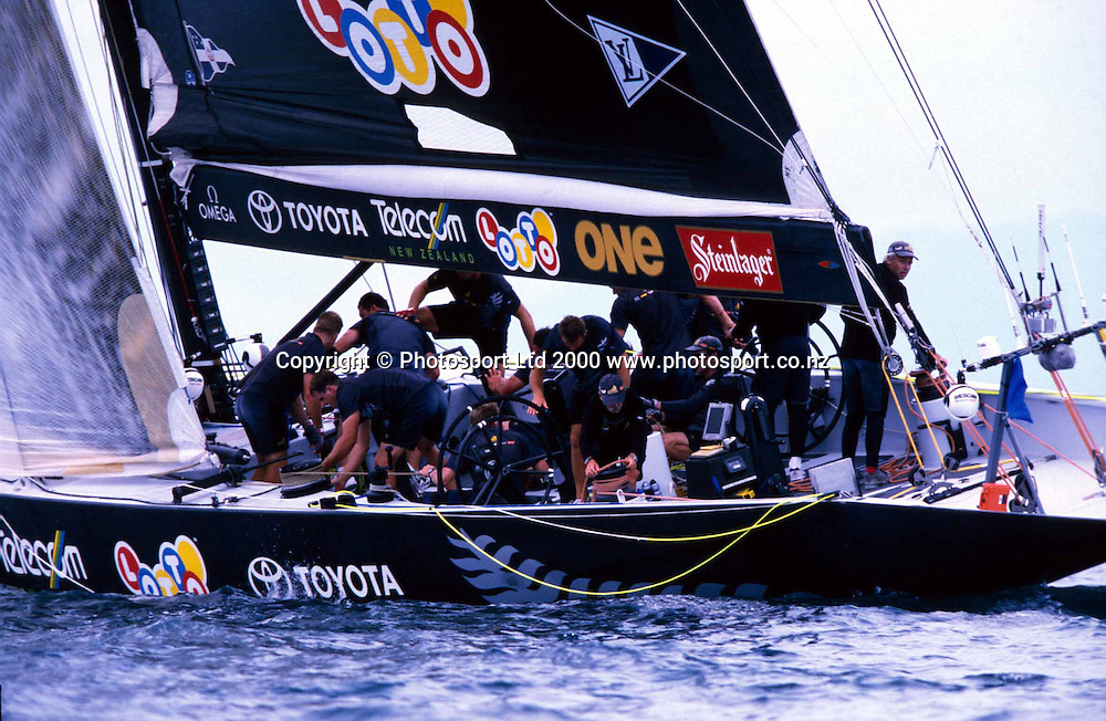 Team New Zealand sailing during race four of the America's Cup against Prada, Auckland, 1 March, 2001. Photo: PHOTOSPORT<br /><br /><br /><br />NZ *** Local Caption ***