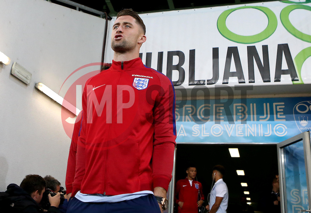 Gary Cahill of England arrives at The SRC Stozice Stadium ahead of the World Cup Qualifier against Slovenia - Mandatory by-line: Robbie Stephenson/JMP - 10/10/2016 - FOOTBALL - SRC Stozice - Ljubljana, England - England Press Conference