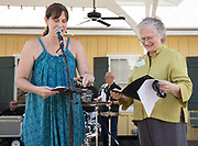 Mary Davis receives recognition as CItizen of the Year from Evette Randolph at the Abita Springs Water Festival; November 5, 2017; photo by George H. Long