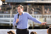 Senator and GOP presidential candidate Marco Rubio speaks to supporters during a campaign event at the Waters Edge restaurant along Shem Creek in Mount Pleasant, South Carolina. About 100 people turned out to hear the Senator speak in the heart of the shrimping industry along Charleston Harbor.