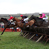 Ontheroadagain, Senor Christy and Vintage Krug jump almost side by side in the Doolin Cup at the annual point to point meeting at Belhabour on Sunday.<br /><br />Photograph by Yvonne Vaughan.