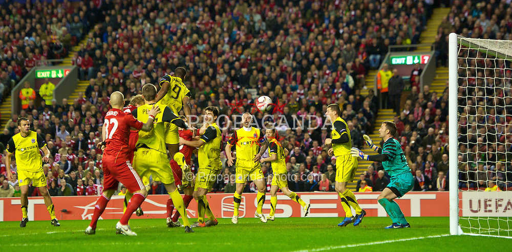 LIVERPOOL, ENGLAND, Thursday, February 24, 2011: Liverpool's Dirk Kuyt scores a late winning goal against AC Sparta Praha during the UEFA Europa League Round of 32 2nd leg match at Anfield. (Photo by David Rawcliffe/Propaganda)