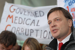 Picture by Mark Larner / Central News. Picture shows Dr. Andrew Wakefield issuing a statement outside the General Medical Council following findings of facts against him regarding his MMR research...