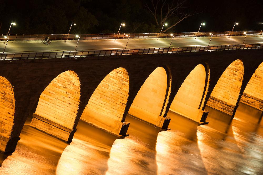Stone arch bridge over the Mississippi river in Minneapolis, Minnesota, USA.