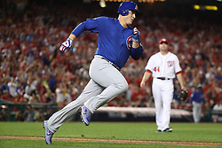 October 6, 2017 - Washington, DC, USA - The Chicago Cubs' Anthony Rizzo heads to second base with an RBI double in the eighth inning against the Washington Nationals during Game 1 of the National League Division Series on Friday, Oct. 6, 2017, at Nationals Park in Washington, D.C. The Cubs won, 3-0. (Credit Image: © Chris Sweda/TNS via ZUMA Wire)