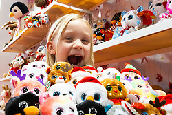 YouTube toy reviewer Paige XOXO, 5, is in her element with soft toys the Toy Fair at Kensington Olympia in London, the UK's largest dedicated game and hobby exhibition featuring the hottest and most anticipated products for the year ahead. London, January 22 2019.
