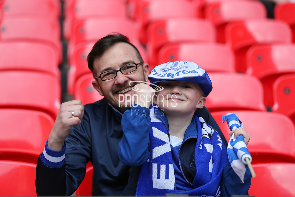 Everton fans during the The FA Cup semi final match between Everton and Manchester United at Wembley Stadium, London, England on 23 April 2016. Photo by Phil Duncan.