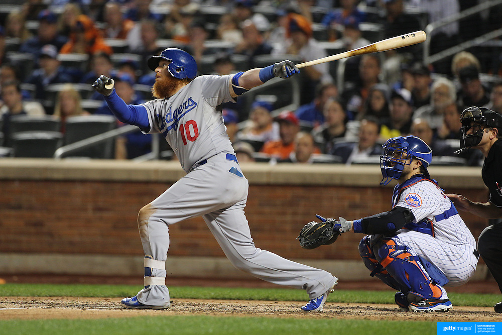 Justin Turner, Los Angeles Dodgers, batting during the New York Mets Vs Los Angeles Dodgers, game four of the NL Division Series at Citi Field, Queens, New York. USA. 13th October 2015. Photo Tim Clayton