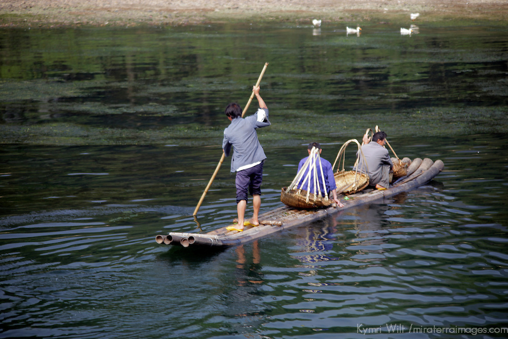 Asia, China, Guilin. Li River transportation by raft.