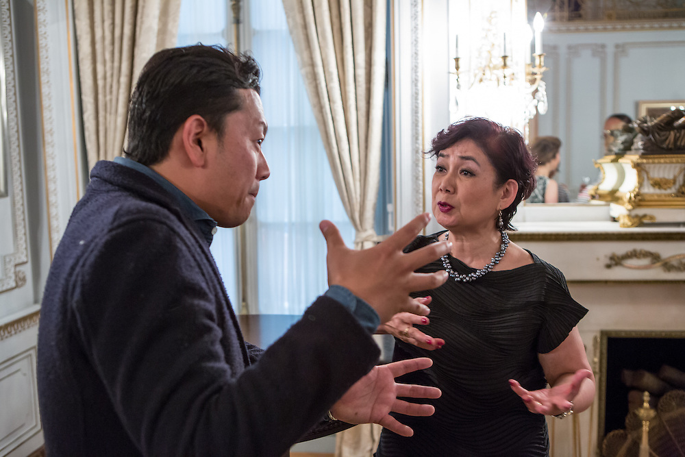 """New York, NY - 3 June 2016. Saori Kawano (right) in conversation after a ceremony awarding Bouley the title Japanese Cuisine Goodwill Ambassador for his work in bringing Japanese cuisine to the U.S. Kawano is co-author, with Don Gabor, of """"Chef's Choice: 22 culinary masters tell how Japanese food culture influenced their careers and cuisine."""""""