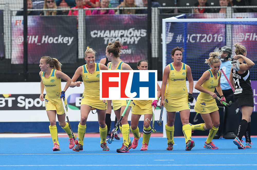 LONDON, ENGLAND - JUNE 19: Jodie Kenny of Australia celebrates after scoring their second goal during the FIH Women's Hockey Champions Trophy match between Australia and Britain at New Zealand at Queen Elizabeth Olympic Park on June 19, 2016 in London, England.  (Photo by Alex Morton/Getty Images)
