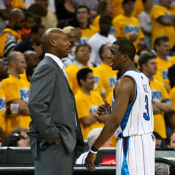 25 April 2009: New Orleans Hornets coach Byron Scott talks with guard Chris Paul (3) during a 95-93 win by the New Orleans Hornets over the Denver Nuggets in game three of the NBA Western Conference quarter-finals playoff at the New Orleans Arena in New Orleans, Louisiana.