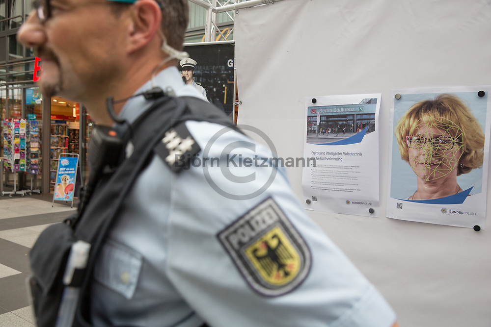 Berlin, Germany - 23.06.2017<br /> <br /> The German Federal Police is testing new video surveillance systems with automatic face recognition at Berlin's Suedkreuz station. With an information booth, the officers are looking for volunteers. More than 275 people registered for this test.<br /> <br /> Die Bundespolizei testet am Berliner Bahnhof Suedkreuz neue Videoueberwachungssysteme mit automatischer Gesichtserkennung. Mit einem Infostand suchen die Beamten nach Freiwilligen Probanden. Mehr als 275 Menschen meldeten sich hierfuer. <br /> <br /> Photo: Bjoern Kietzmann