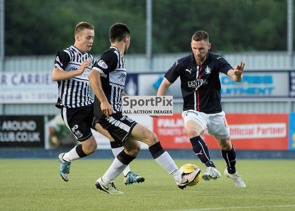 Falkirks Bob McHugh tries to find a way past Matthew Cooper  ( Elgin City ).Falkirk v Elgin City, Scottish Football League Betfred Cup, 19th July 2016. (c) Paul Cram | SportPix.org.uk