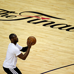 Jun 16, 2013; San Antonio, TX, USA; Miami Heat shooting guard Dwyane Wade warms up prior to game five in the 2013 NBA Finals against the San Antonio Spurs at the AT&T Center. Mandatory Credit: Derick E. Hingle-USA TODAY Sports