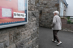 EU Elections, Thursday 23rd May 2019<br /> <br /> Elections for the EU parliament are being held across Europe this weekend.<br /> <br /> Pictured: An elderly lady visits a polling station in Blackburn, west Lothian<br /> <br /> Alex Todd | Edinburgh Elite media