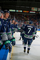 KELOWNA, CANADA - JANUARY 5: The Seattle Thunderbirds celebrate a goal against the Kelowna Rockets on January 5, 2017 at Prospera Place in Kelowna, British Columbia, Canada.  (Photo by Marissa Baecker/Shoot the Breeze)  *** Local Caption ***