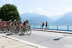 Liv Plantur lead the race along the shore of Lago d'Iseo at Giro Rosa 2016 - Stage 4. A 98.6 km road race from Costa Volpino to Lovere, Italy on July 5th 2016.