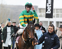 National Hunt Horse Racing - 2020 Cheltenham Festival - Wednesday, Day Two (Ladies Day)<br /> <br /> Winner, Mark Walsh on Aramax in the 16.50 Boodles Juvenile Handicap Hurdle race (Grade 3), at Cheltenham Racecourse.<br /> <br /> CREDIT : COLORSPORT / ANDREW COWIE