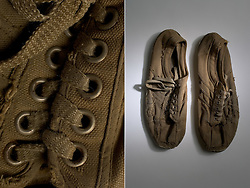 Allen Ginsburg's Shoes and detail. Stanford Archives