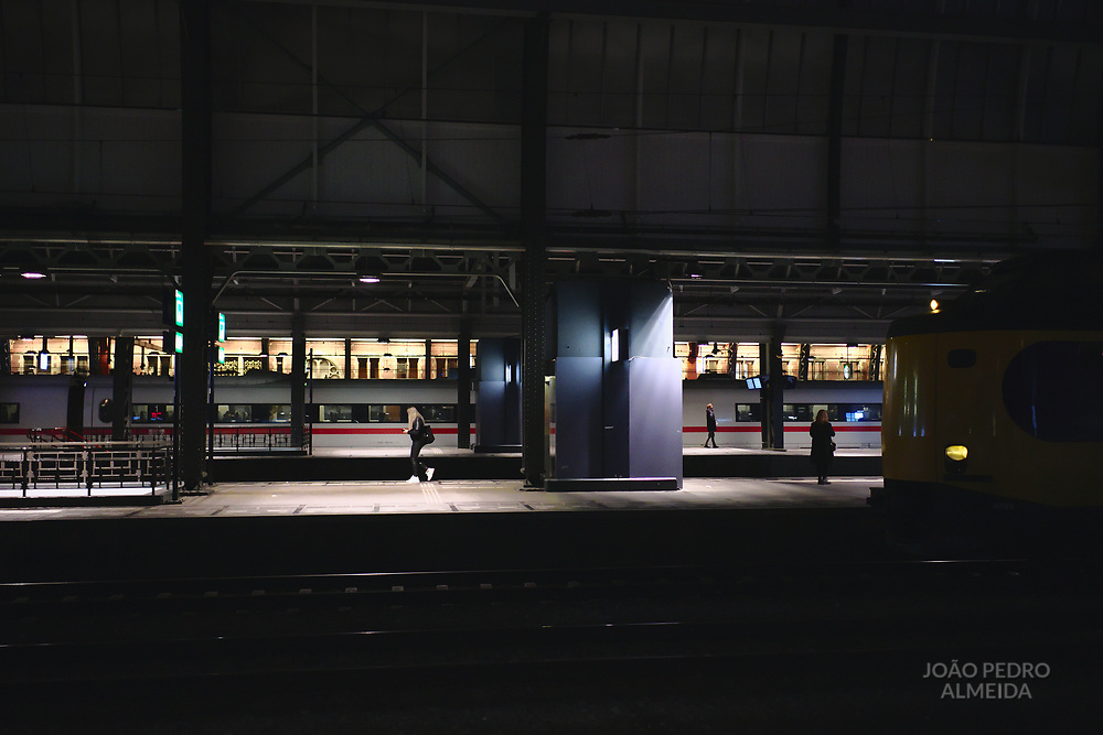 Incoming train at Amsterdam Centraal station.