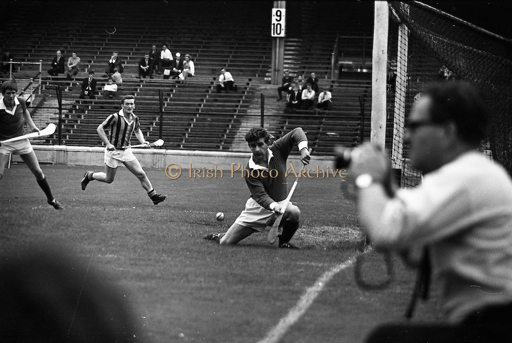 17/08/1969<br /> 08/17/1969<br /> 17 August 1969<br /> All-Ireland Senior Semi-Final: Kilkenny v London at Croke Park, Dublin.<br /> London goalie, L. Bearnabhal (right) (Tipperary and Brian Boru),  stops this low Kilkenny ball.
