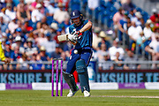 England ODI wicket keeper Jos Butler plays the ball onto the off side during the 5th One Day International match between England and Australia at Old Trafford, Manchester, England on 24 June 2018. Picture by Simon Davies.