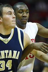 04 December 2010: John Wilkins and Cody Anderson muscle for position during an NCAA basketball game between the Montana State Bobcats and the Illinois State Redbirds at Redbird Arena in Normal Illinois.