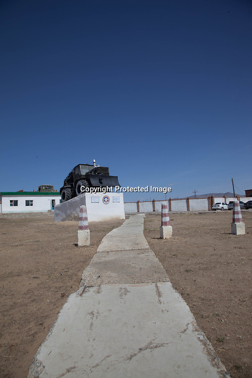 Mongolia. old armored vehicle in front of army baracks  in terelg