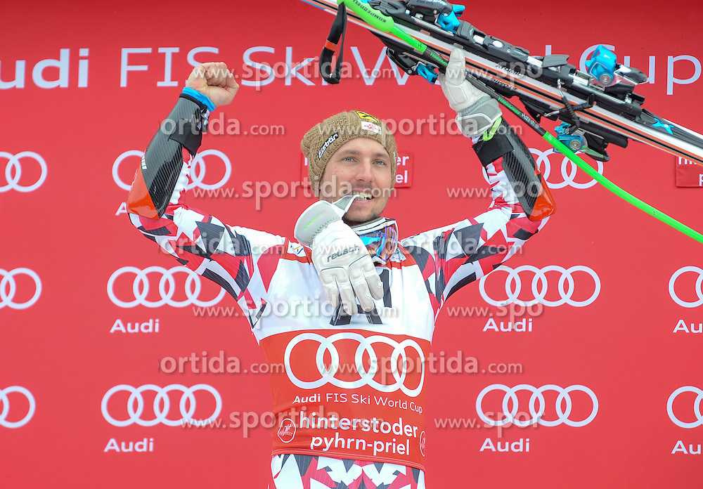 28.02.2016, Hannes Trinkl Rennstrecke, Hinterstoder, AUT, FIS Weltcup Ski Alpin, Hinterstoder, Riesenslalom, Herren, Podium, im Bild Marcel Hirscher (AUT) 2.Platz // Marcel Hirscher of Austria (second place) celebrates on Podium of men's Giant Slalom of Hinterstoder FIS Ski Alpine World Cup at the Hannes Trinkl Rennstrecke in Hinterstoder, Austria on 2016/02/28. EXPA Pictures © 2016, PhotoCredit: EXPA/ ERICH SPIESS