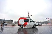 Nederland, Amsterdam, 16-3-2013Een reportagebusje van de NOS staat bij de Rai om de carrierebeurs rechtstreeks te kunnen overstralen.Foto: Flip Franssen/Hollandse Hoogte