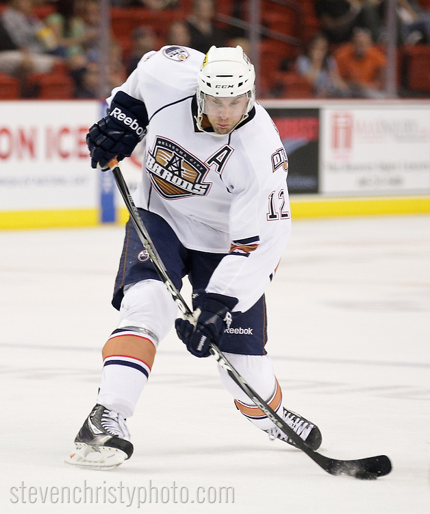 October 16, 2011: The Oklahoma City Barons play the Houston Aeros in an American Hockey League game at the Cox Convention Center in Oklahoma City.
