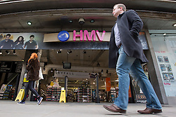 © Licensed to London News Pictures. 05/04/2013. London, UK. The flagship Oxford Street branch of entertainment retailer HMV is seen on Oxford Street today (05/04/2013) after news  surfaced that restructuring specialists Hilco are in talks to safeguard up to 140 stores and 2,500 jobs in a GB£50 million deal. The retailer, who called in administrators Deloitte in January 2013, has struggled in declining markets and amid increasing competition from supermarkets and online retailers. Photo credit: Matt Cetti-Roberts/LNP